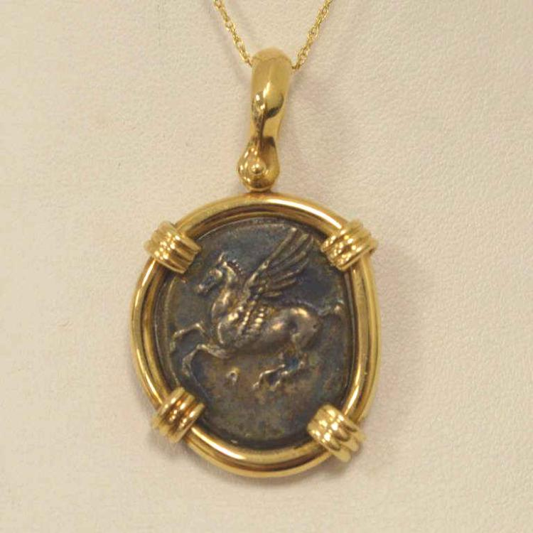 14kt yellow gold greek pegasus coin pendant for Gulf coast coin and jewelry