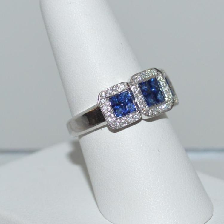 18kt white gold sapphire and diamond ring for Gulf coast coin and jewelry