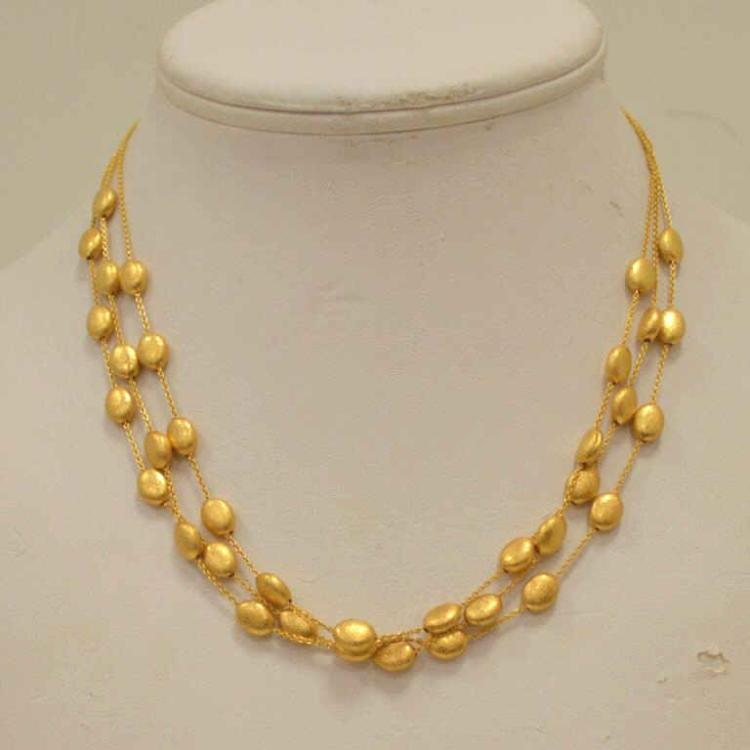 18kt yellow gold multi strand pebble bead necklace for Gulf coast coin and jewelry