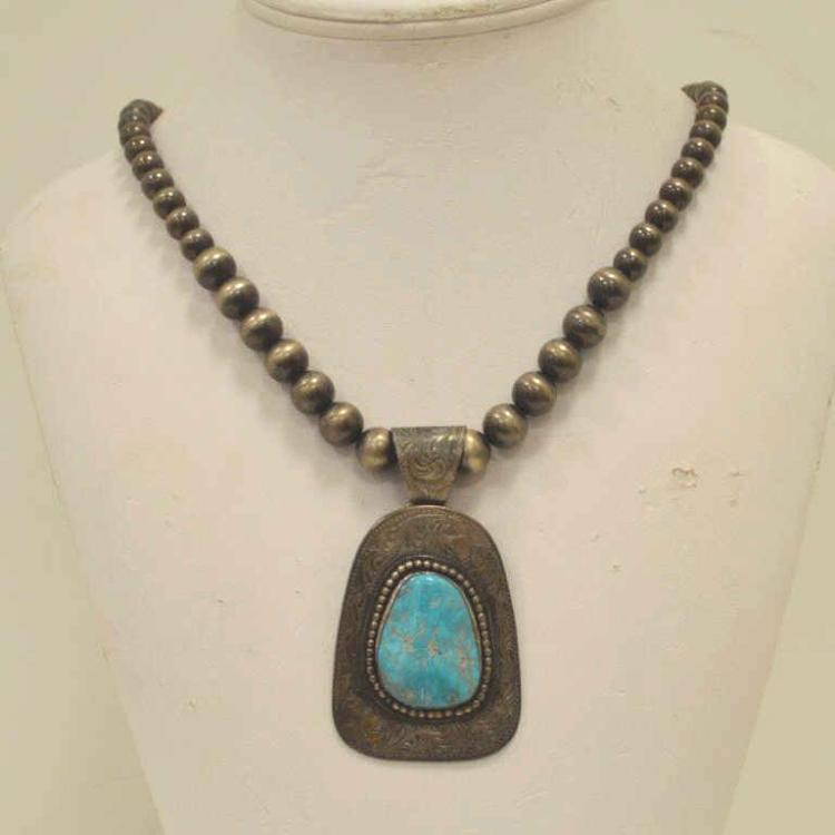 Sterling silver engraved turquoise necklace for Gulf coast coin and jewelry