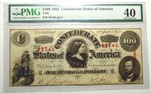 1863 $100 T-56 CSA Richmond, VA PMG EF 40