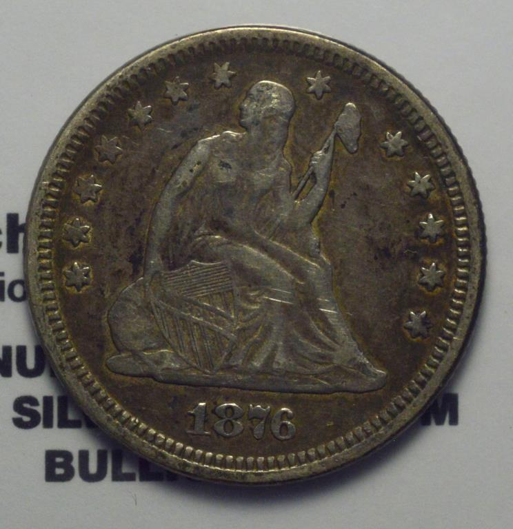 1876 25 Cent Seated Quarter Dollar Vf