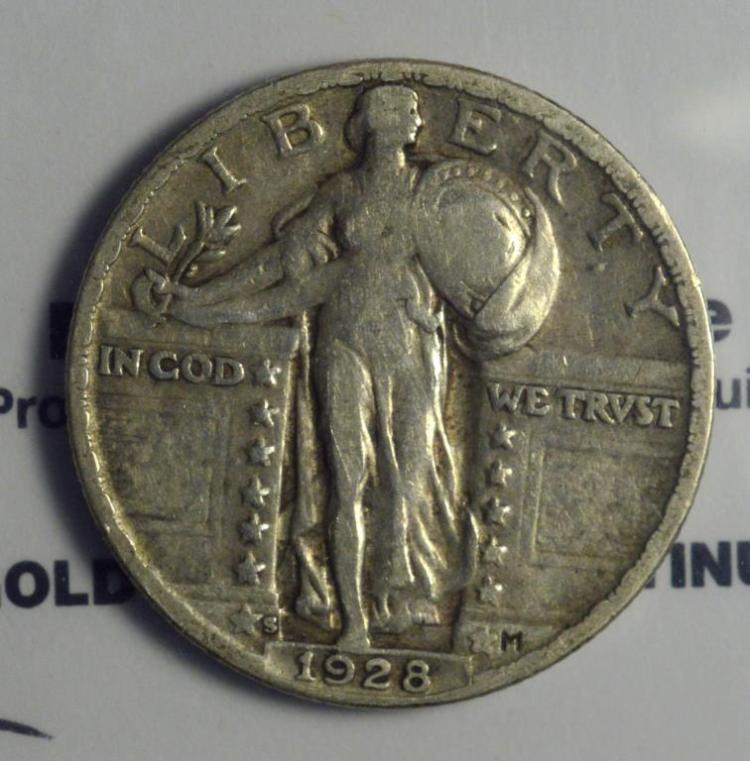 1928 S 25 Cent Standing Liberty Quarter Dollar F
