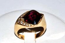 14kyg Rhodolite & Diamond Ring
