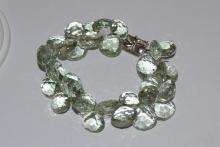 18kwg Prasiolte & Diamond Bracelet