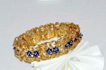 18kyg Enamel Flower & Ruby Bracelet