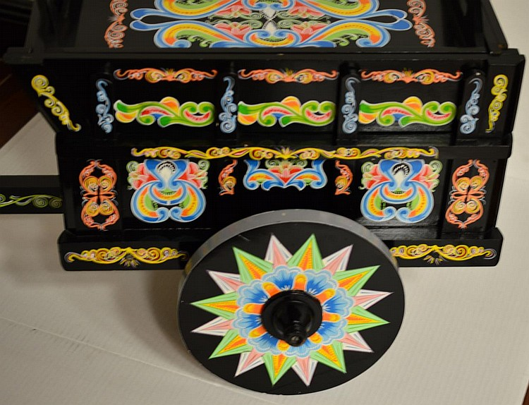 costa rican hand painted ox cart coffee table