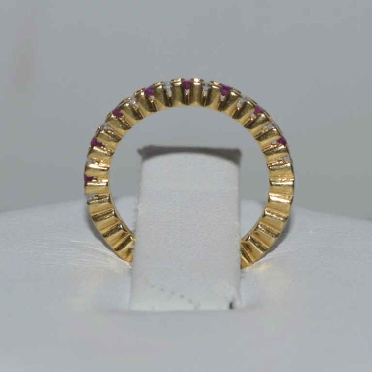 18kt yellow gold ruby and diamond band for Gulf coast coin and jewelry