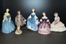 Five Porcelain Figures Including Royal Doulton