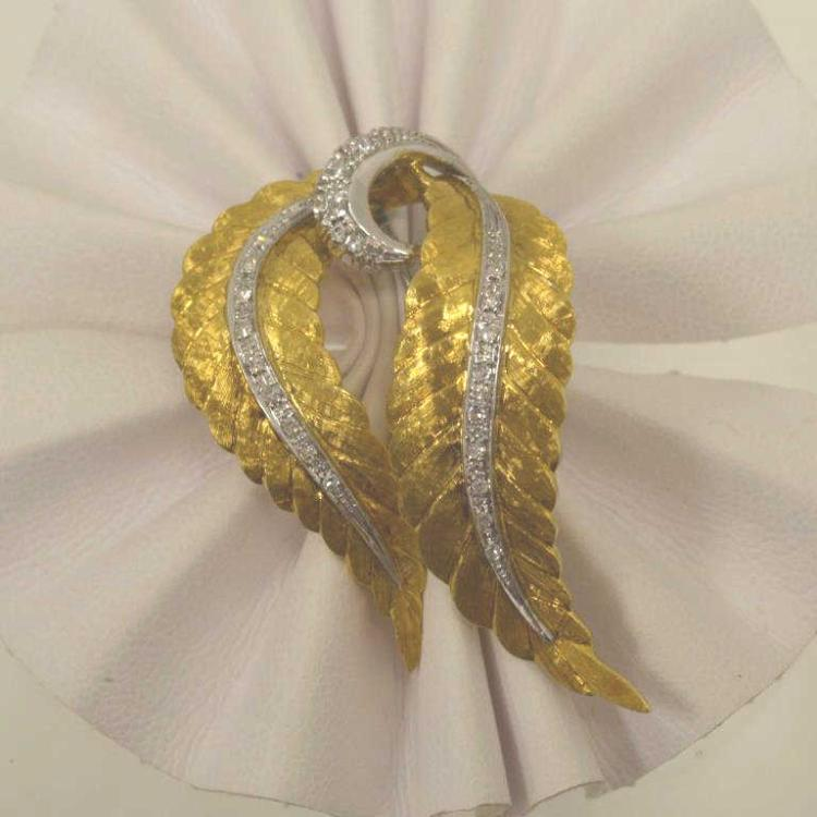 18kt two tone diamond leaf brooch for Gulf coast coin and jewelry