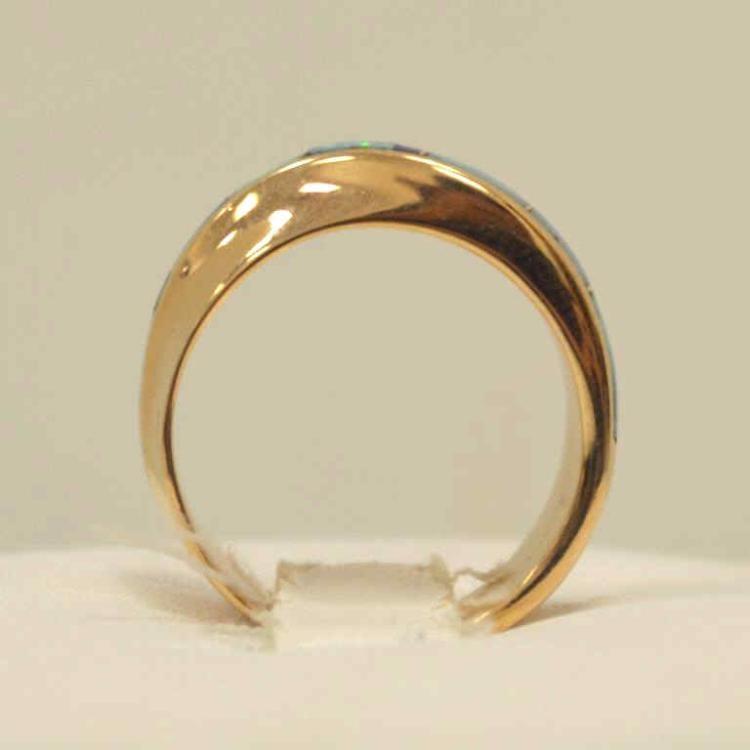 14kt yellow gold opal inlay ring for Gulf coast coin and jewelry