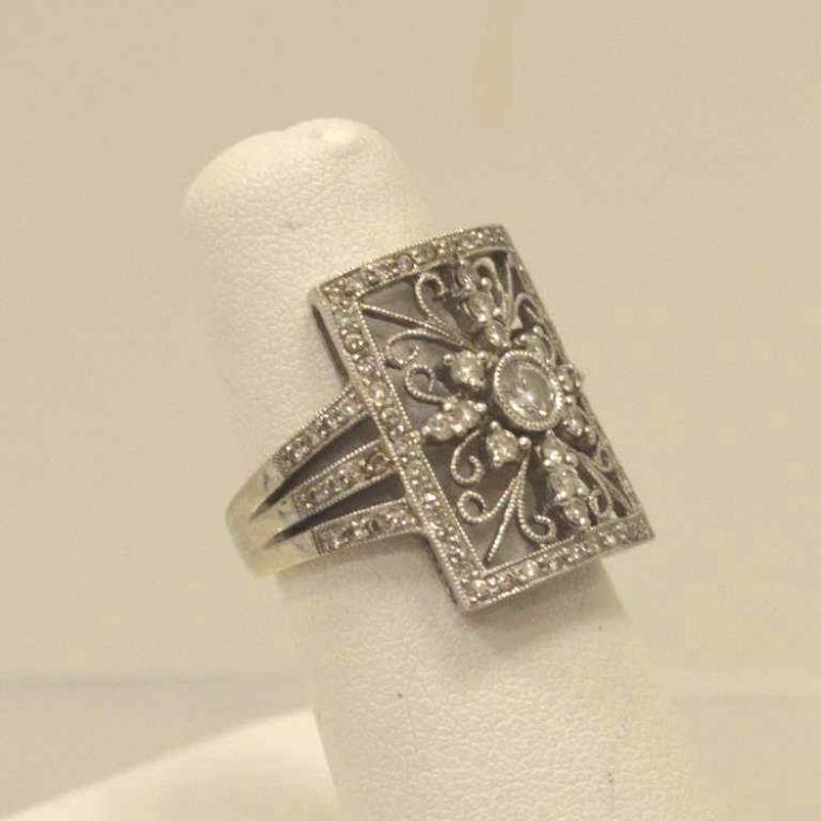18kt white gold vintage style diamond ring for Gulf coast coin and jewelry