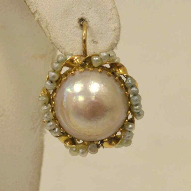 14kt yellow gold mabe pearl earrings for Gulf coast coin and jewelry