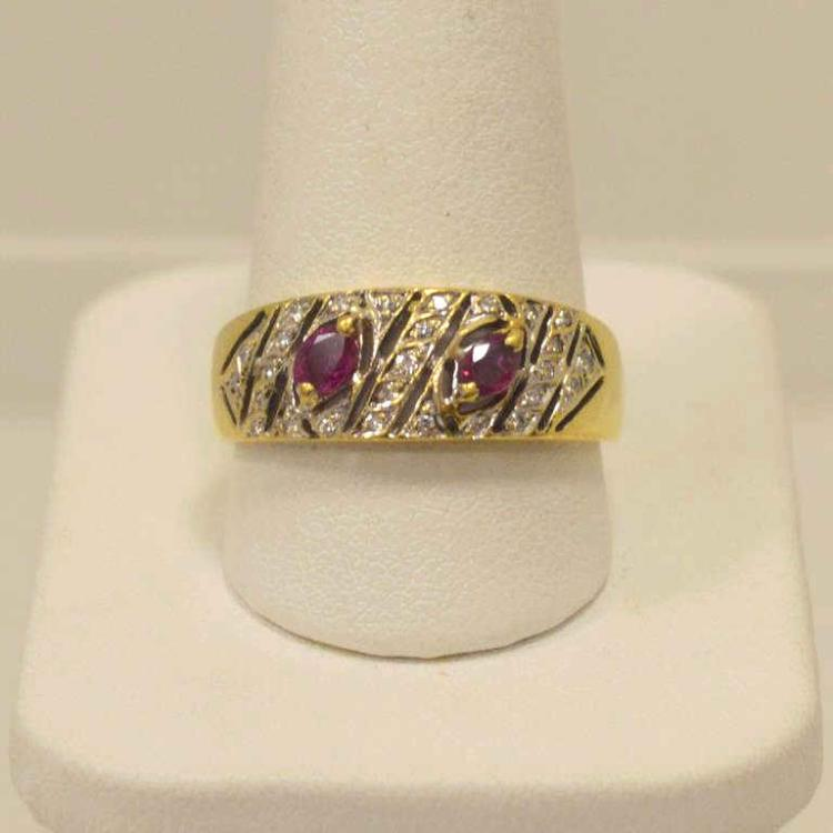 18kt yellow gold ruby and diamond ring for Gulf coast coin and jewelry