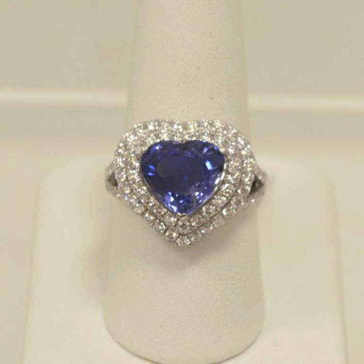 Platinum sapphire and diamond ring for Gulf coast coin and jewelry