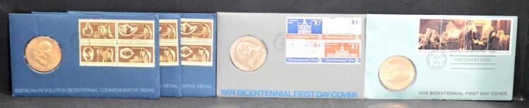 USA – 1976 BICENTENNIAL MEDALS & 1974 & 1976 FDC's