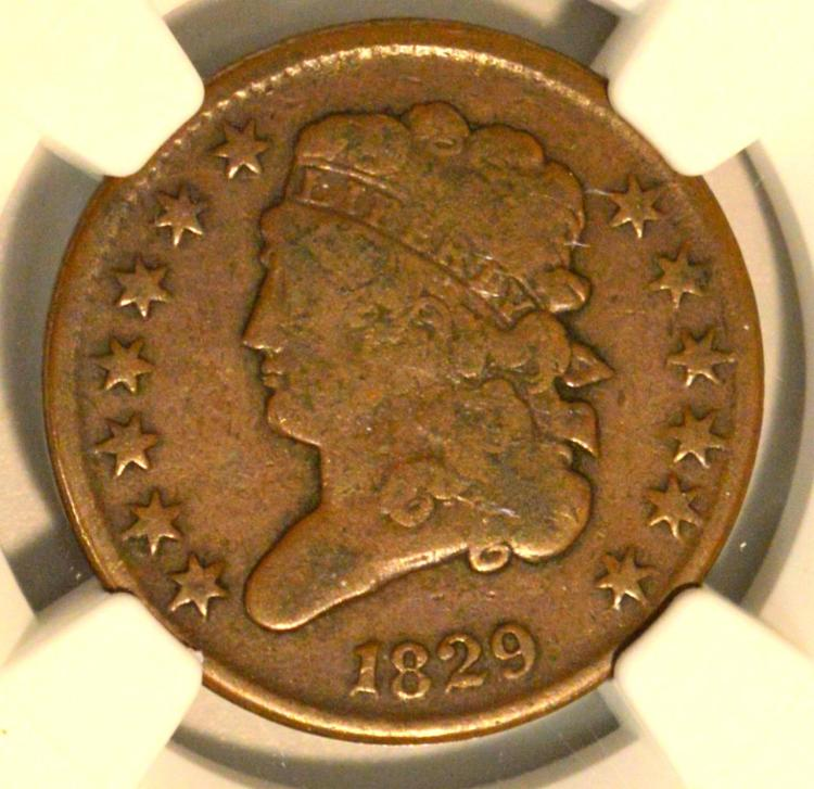 1829 C-1 Classic Head Half Cent NGC F 12 BN