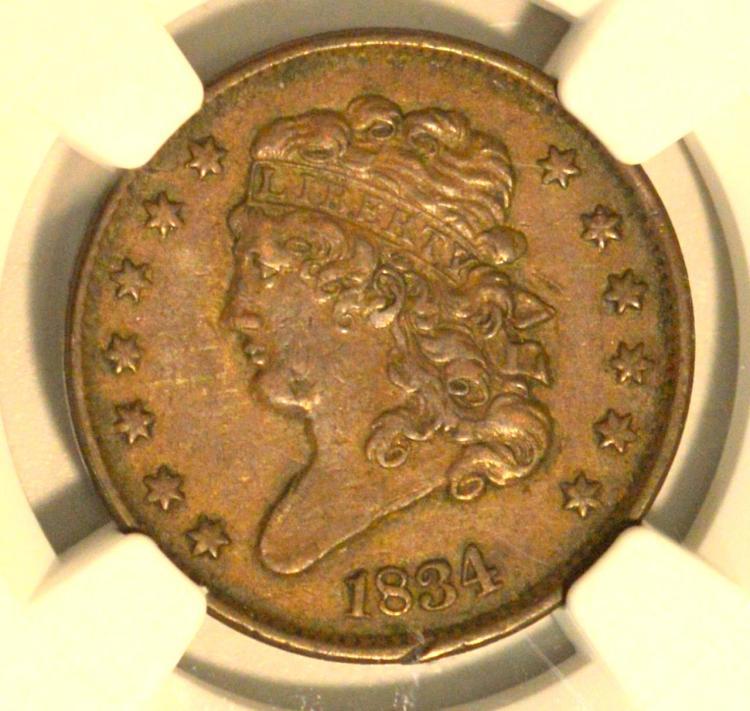 1834 C-1 Classic Head Half Cent NGC XF 45 BN