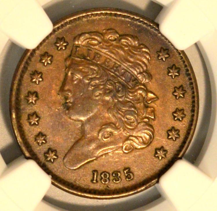 1835 Classic Head Half Cent NGC AU 53 BN