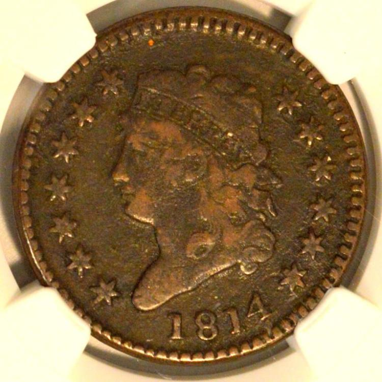 1814 Plain 4 Classic Head Lg Cent S-295 NGC VF Det