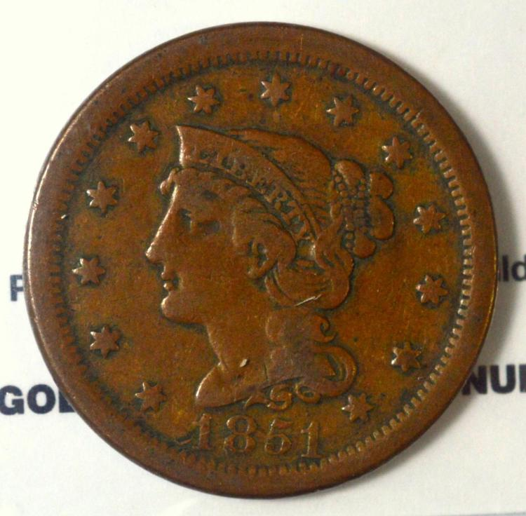 1851 Liberty Head Large Cent Fine