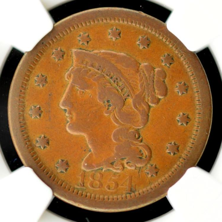 1854 Liberty Head Large Cent NGC VF Details O/D