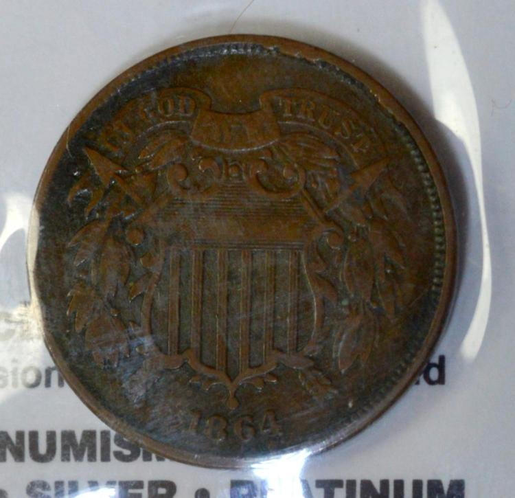 1864 Two-Cent Piece XF