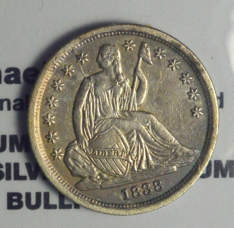 1838 Type 2 Liberty Seated Dime XF
