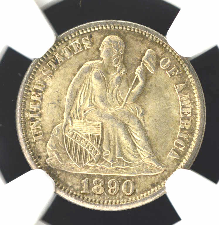 1890-S Liberty Seated Dime NGC MS 65