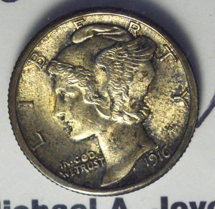 1916 Mercury Dime MS 63 FB