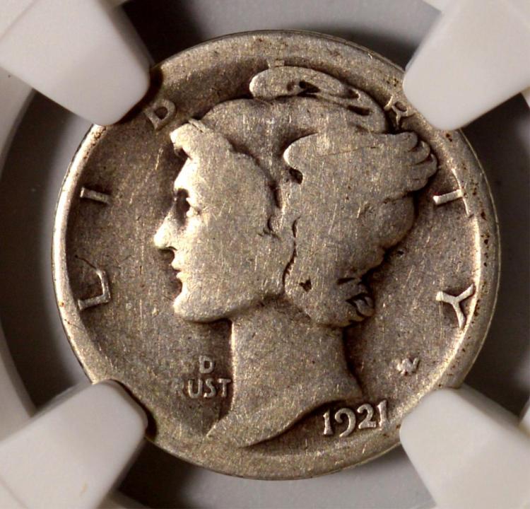 1921-D Mercury Dime NGC AG Details Bent