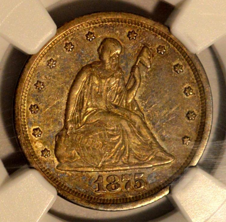 1875-S Liberty Seated Twenty-Cent Piece NGC AU 53