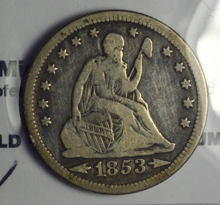 1853-O Type 2 A&R Liberty Seated Quarter Dollar VG