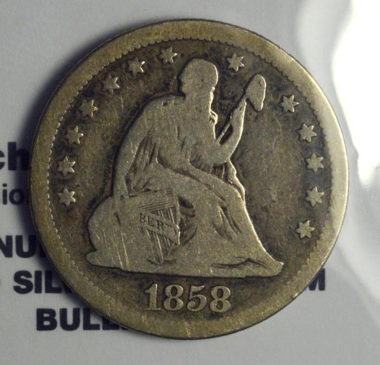 1858 Liberty Seated Quarter Dollar VG