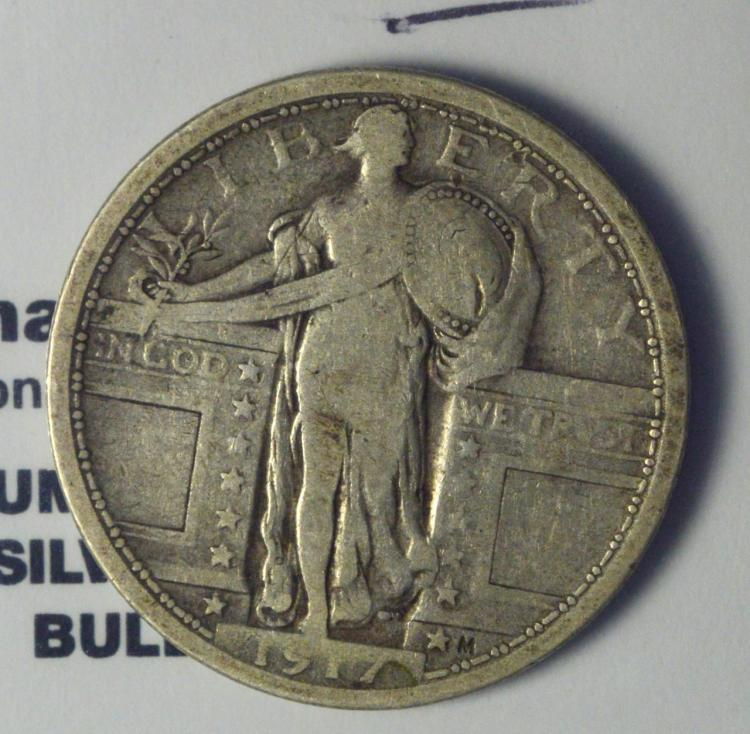1917 Type 1 Standing Liberty Quarter Dollar Fine