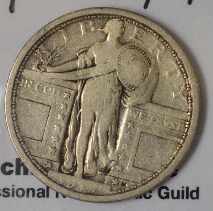 1917 Type 1 Standing Liberty Quarter Dollar Fine