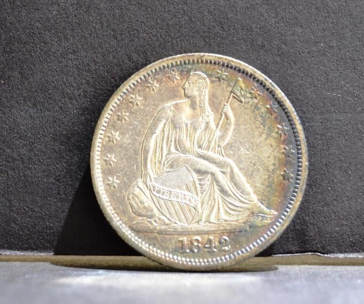 1842 Liberty Seated Half Dollar AU+, Nice Color