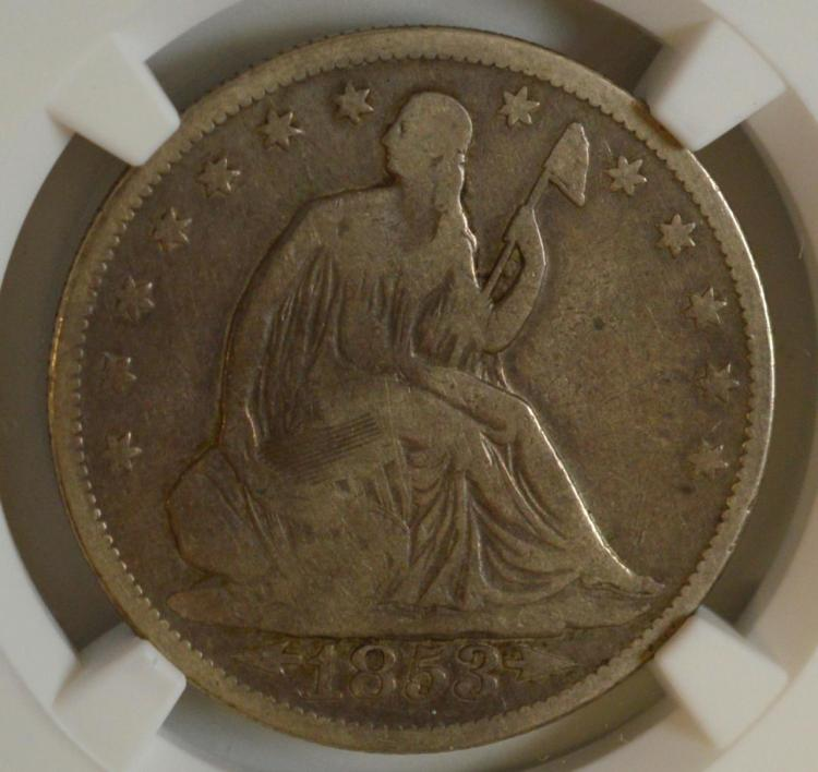 1853 A&R Liberty Seated Half Dollar NGC VG Det.