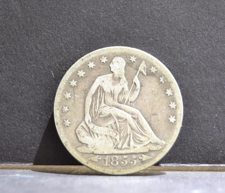 1855 Arrows Liberty Seated Half Dollar VG