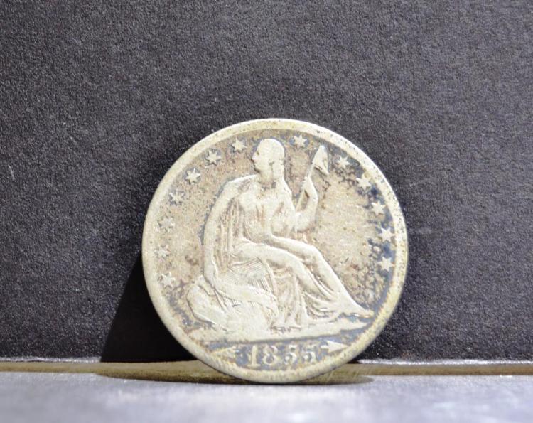 1855 -O Arrows Liberty Seated Half Dollar Fine