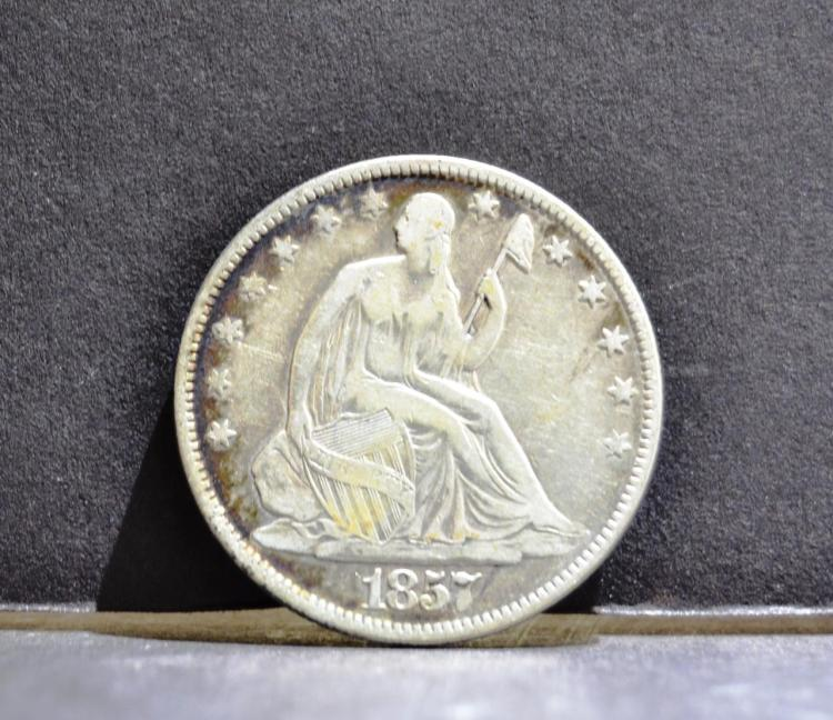 1857 Liberty Seated Half Dollar Fine+