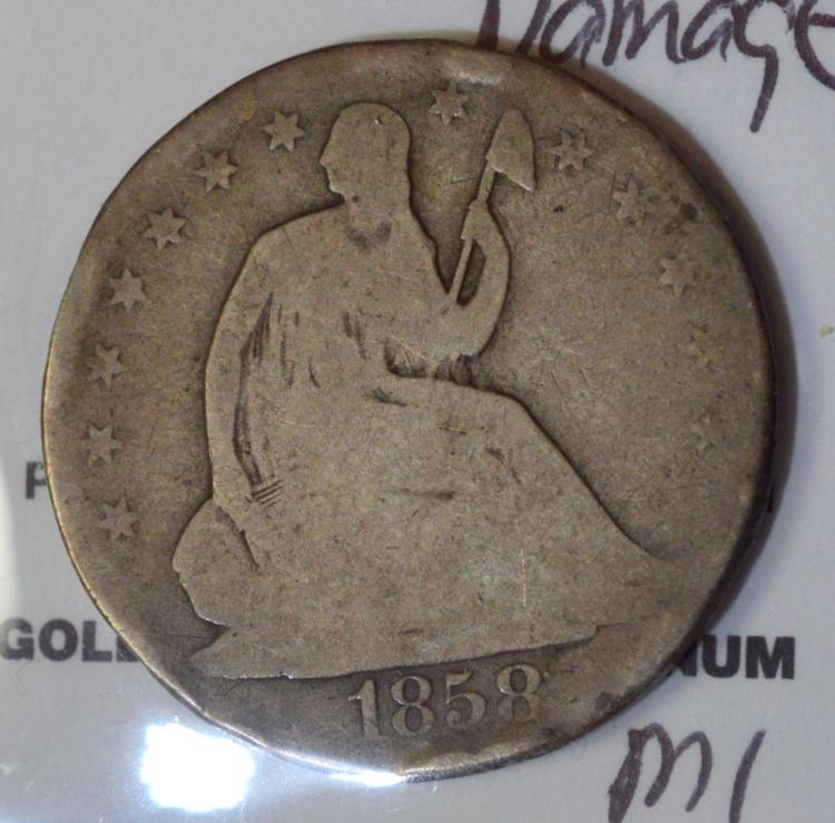 1858-O Liberty Seated Half Dollar AG, Damaged
