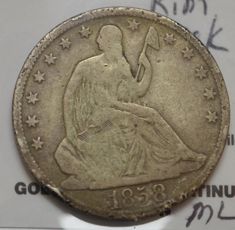 1858-O Liberty Seated Half Dollar VG, Rim Nick