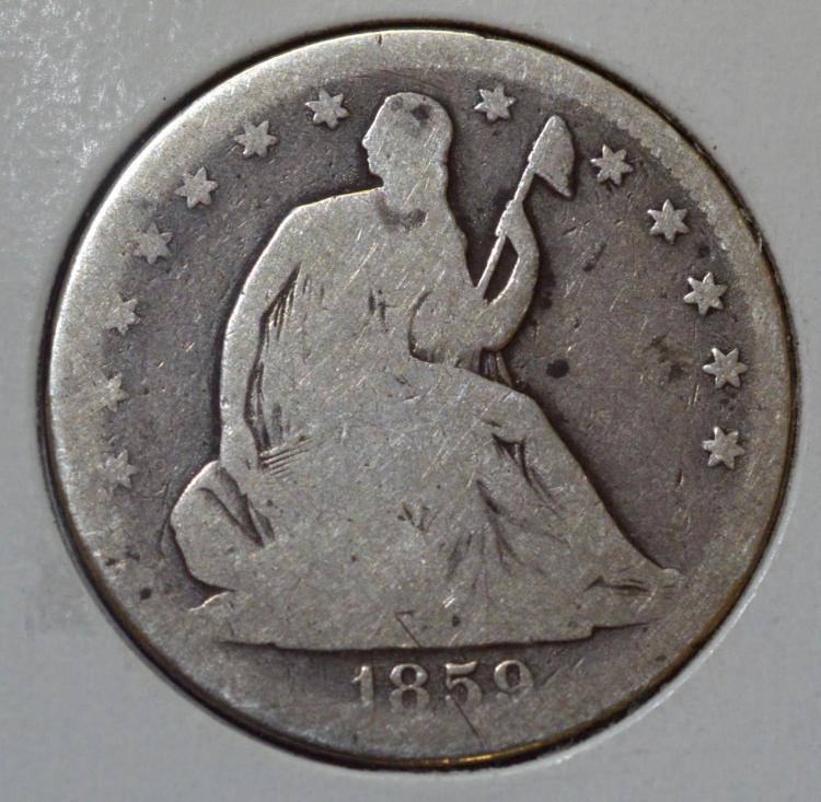 1859 Liberty Seated Half Dollar AG/G