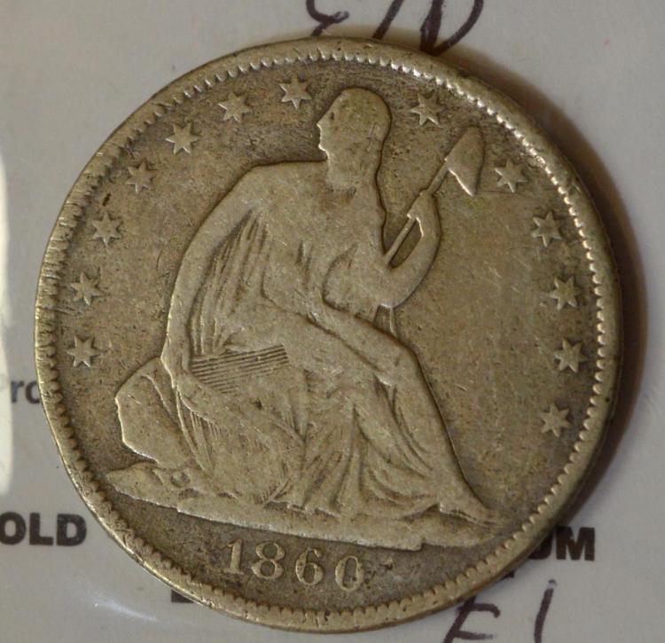 1860-O Liberty Seated Half Dollar VG, E/D