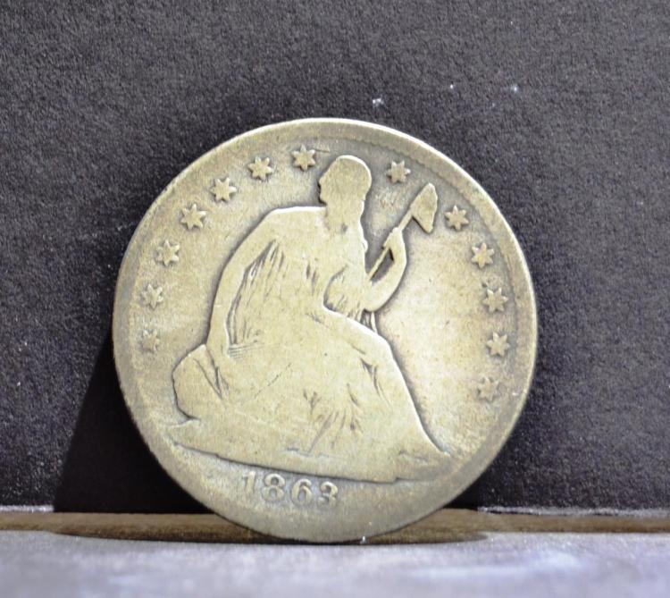1863 Liberty Seated Half Dollar Good