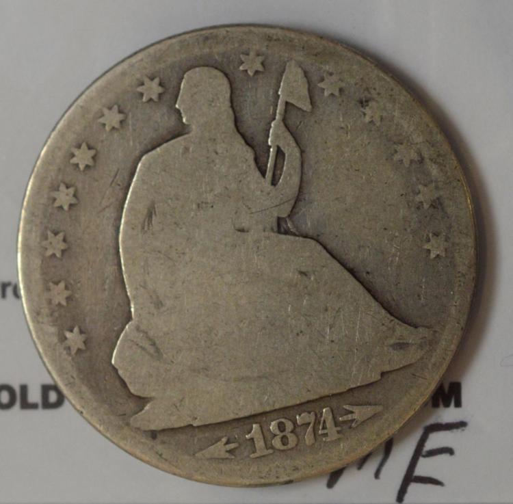 1874 Arrows Liberty Seated Half Dollar Good+
