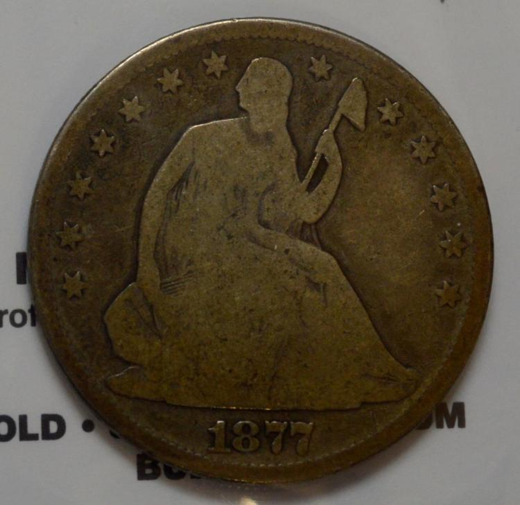 1877 Liberty Seated Half Dollar VG