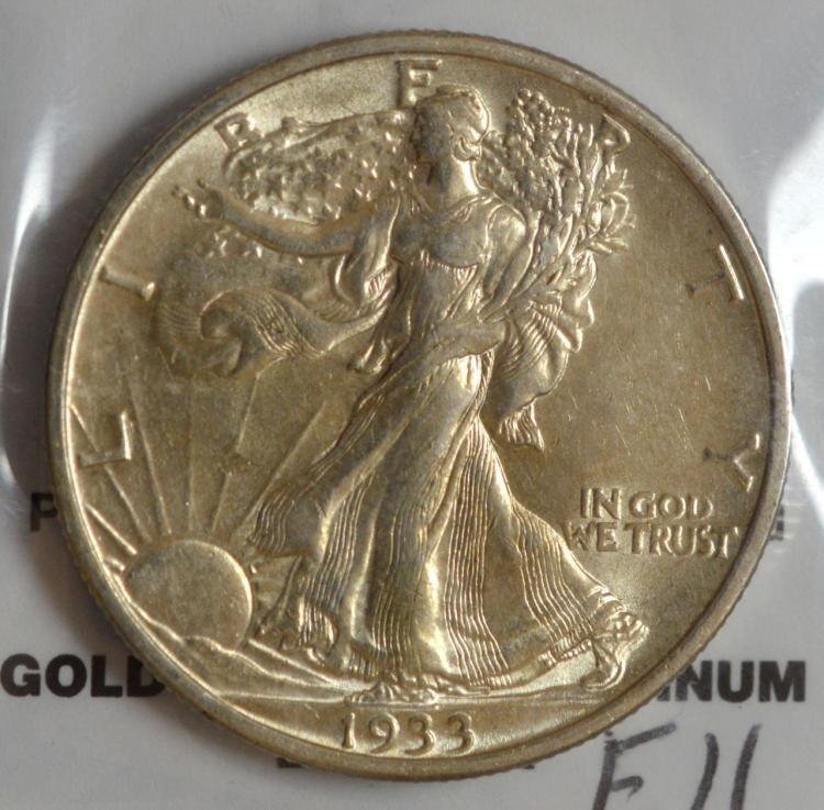 1933-S Liberty Walking Half Dollar AU 58+