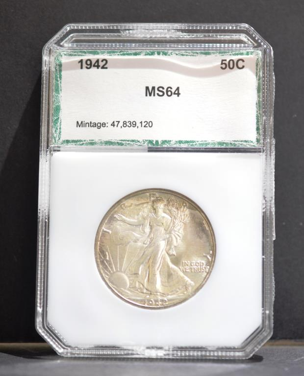 1942 Liberty Walking Half Dollar PCI BU